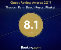 Award Guest Review Awards Thavorn Palm Beach Resort Phuket Booking.com 2017